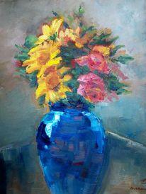 Malerei, Vase, Impressionismus, Blumen