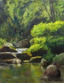 Stein, Wasser, Impressionismus, Bäume natur