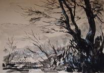 Landschaft, Natur, Zeichnung, Baum