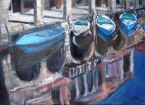 Ölmalerei, Pallazi, Stadtlandschaft, Kanal