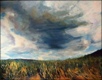 Stormy weather, Wolken, Feld, Gewitterwolken