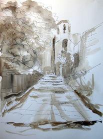 Lavierte zeichnung, Zeichnung, Aquarellmalerei, Landschaft
