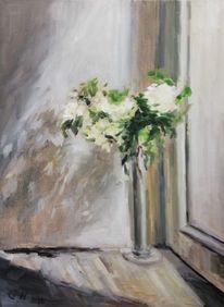 Ölmalerei, Stillleben, White flowers, Blumen