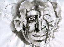 Alter mann, Tuschmalerei, Zeichnungen, Natur