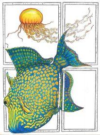 Meerestiere, Blau, Gelb, Qualle