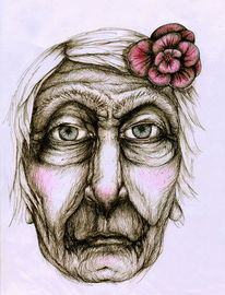 Frau, Traurig, Portrait, Blüte
