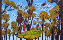 Baum, Acrylmalerei, Blätter, Frau