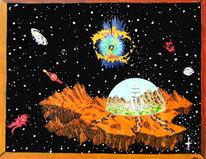 Fantasie, Asteroid, Nachthimmel, Ölmalerei