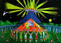 Frau, Acrylfarben, Mond, Ufo