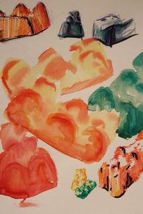 Abstrakt, Tiere, Essen, Aquarellmalerei
