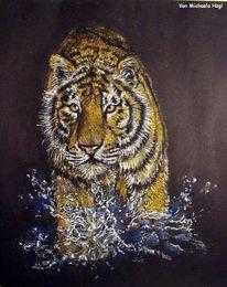 Schwarz, Tiger, Pastellmalerei, Malerei