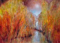Abstrakt, Herbst, Positiv, Gemälde