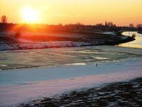 Schnee, Grieth, Sonnenuntergang, Natur