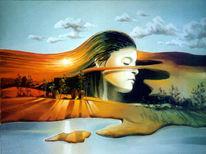 Licht, Ölmalerei, Frau, Surreal