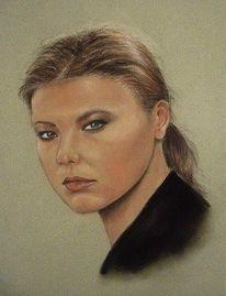 Menschen, Portrait, Frau, Pastellmalerei