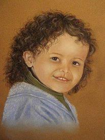 Menschen, Portrait, Pastellmalerei, Kind