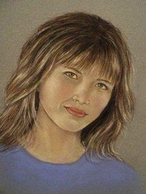 Menschen, Portrait, Pastellmalerei, Frau