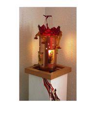 Kupfer, Gefustes glas, Kunstobjekt, Lampe