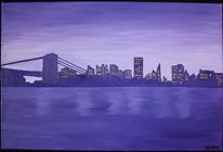 New yoek, Manhatten, Skyline, Malerei