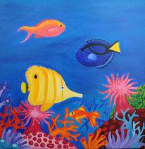 Unterwasser, Fisch, Korallen, Malerei