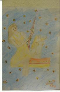 Mädchen im karusel, Portrait, Zeichnungen, Mädchen