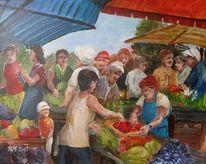 Händler, Obst gemüse, Markt, Malerei