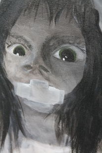 Große augen, Mädchen, Angst, Malerei