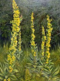 Königskerzen, Waldrand, Blüte, Malerei