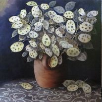 Lunaria annua, Trockenstrauß, Judas silberling, Malerei