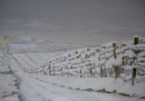 Weinberg, Winter, Malerei