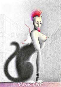 Großstadt, Illustration, Punk, Katze