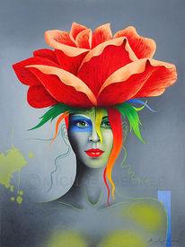 Rose, Zeichenkarton, Kopfbedeckung, Frau