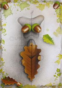 Herbst, Mischtechnik, Frau, Eichen