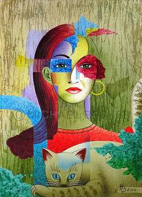 Acrylmalerei, Malerei, Gesicht, Katze