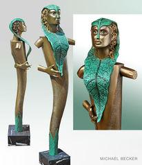 Garten, Skulptur, Frau, Holzfigur