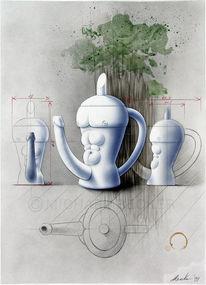 Mann, Phallus, Kaffee, Porzellan