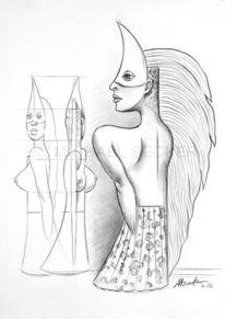 Illustration, Mond, Frau, Sichel