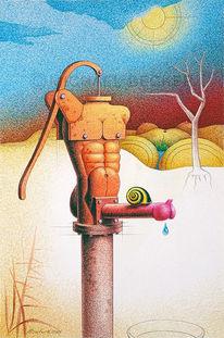 Wasserpumpe, Trockenheit, Brunnen, Kugelschreiber