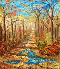 Malerei, Landschaft, Waldweg, Herbst