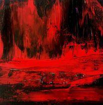 Rot schwarz, Landschaft, Abstrakt, Feurig