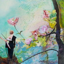 Frau, Türkis, Knospe, Blühende bäume