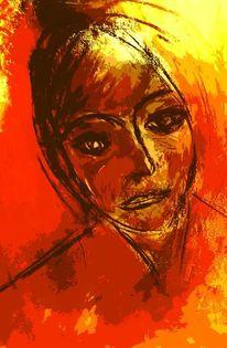 Fragend, Nachdenklich, Frau, Portrait