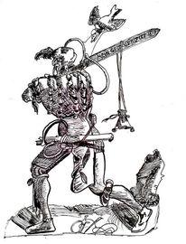 Zeichnung, Krieger, Tusche, Krieg
