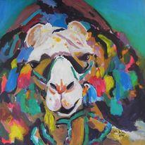 Tiere, Kamel, Acrylmalerei, Malerei