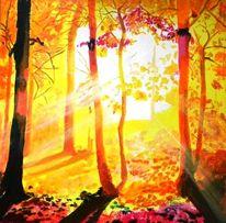 Nebel, Lichtung, Sonnenstrahlen, Baum