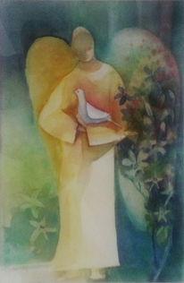 Engel, Bewahren, Blumen, Taube