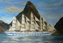 Schiff, Insel, Meer, Segelschiff