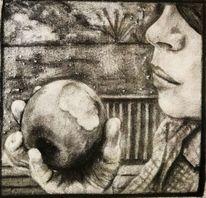 Natur, Mädchen, Bleistiftzeichnung, Apfel