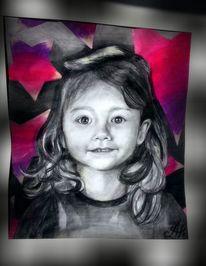 Mädchen, Pink, Portrait, Grau