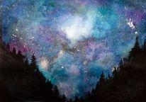 Milchstraße, Wasserfarben, Stern, Blau